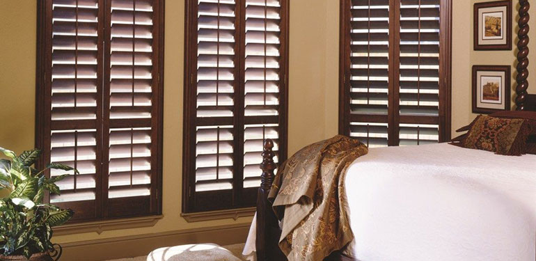 Dark wood plantation shutters